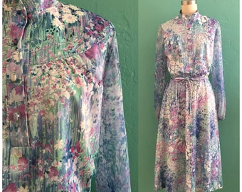 70's floral print spring dress // watercolor print shirt dress