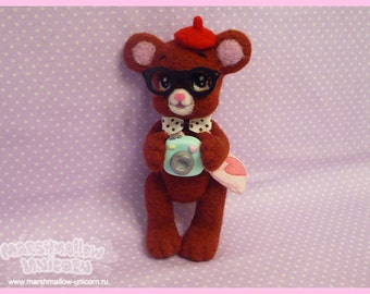 Baby bear felted toy cute and kawaii