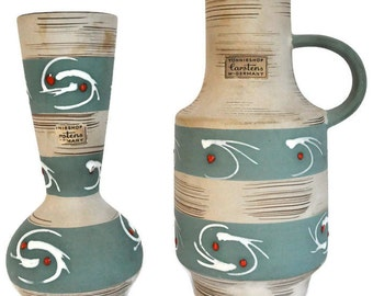 Carstens Tonnieshof Mid-Century West German Pottery - Matching Set