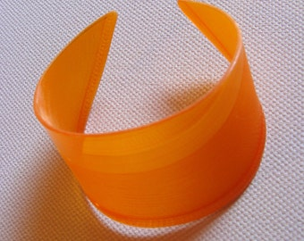 Orange Recycled Vinyl Record Cuff Bracelet - Solid Color Block Boho Jewelry - Psychedelic Accessories