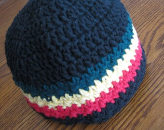 Skullcap beanie Crochet hat in Black, Green, Yellow and Red