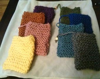 Handknit soft soap bag with wood bead drawstring