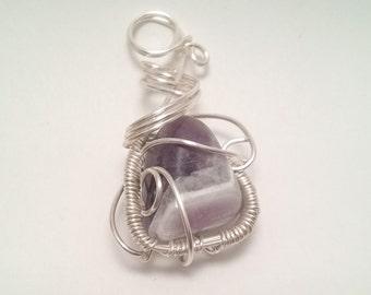 Siver wire wrapped purple jasper