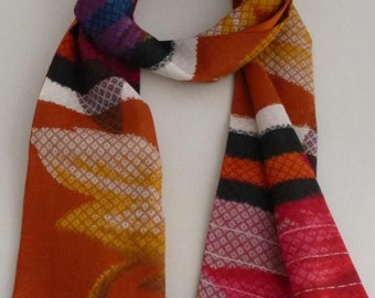 Long, Pure, Cotton, and Silk, Scarf, Abstract, Floral, Stripe,