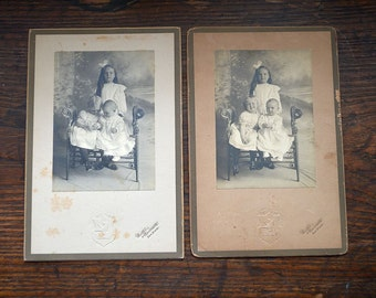 Antique photographs, photos, Victorian pictures, sisters, black and white photographs, three little girls, set 3