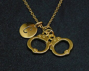 Golden Handcuffs with Initial necklace, initial charm, initial jewelry, personalized necklace