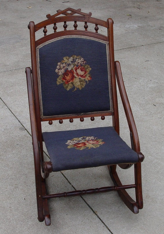 - Antique Sewing Rocker Rocking Chair Needlepoint Back And Seat