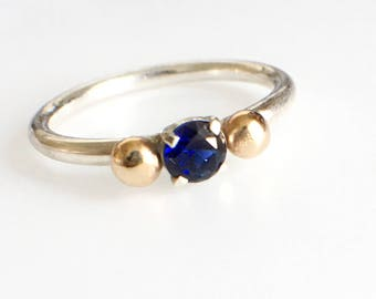 Sapphire Stacking Ring, Sterling Silver Sapphire Ring with 14k Gold Accents, Sapphire Birthstone Ring, September Birthstone Jewelry