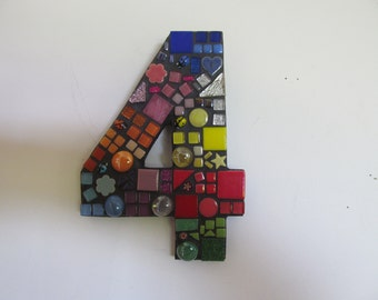 Mosaic House Number, Letterbox Number, Fence Number, Outdoor Number, For House, For Fence, Rainbow Number, Address Number, Ceramic & Glass