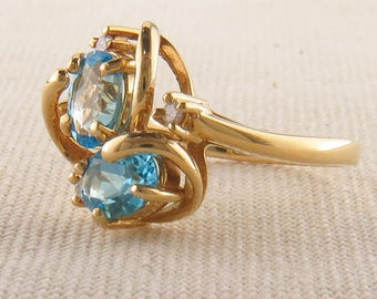 Blue Topaz Two Stone Ring, Yellow Gold Vintage Statement Ring