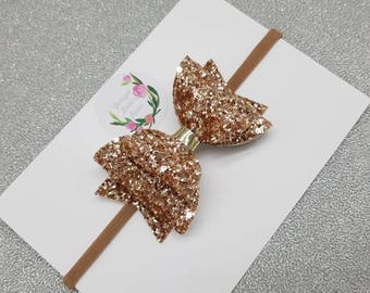 Rose Gold Glitter Hairbows, Baby Headband, Girls Headband, wedding bow