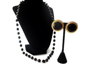 Vintage Designer Blair Delmonico Signed Demi Parure Gold Tone Metal Black Glass Beaded Necklace & Faceted Black Glass Clip on Earring Set