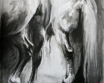 Original Black and White Charcoal Drawing Horses at Rest