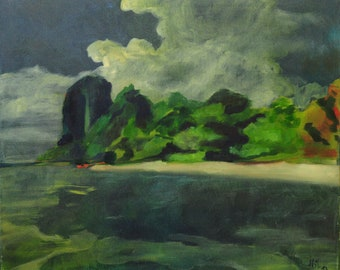 "Original ""Clay Beach"", landscape in oil on canvas, 50 x 60 cm"