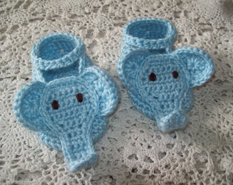 Hand Crochet BLUE ELEPHANT BOOTIES Infant Baby Boy Unique Baby Shower Gift Photo Prop Cute!