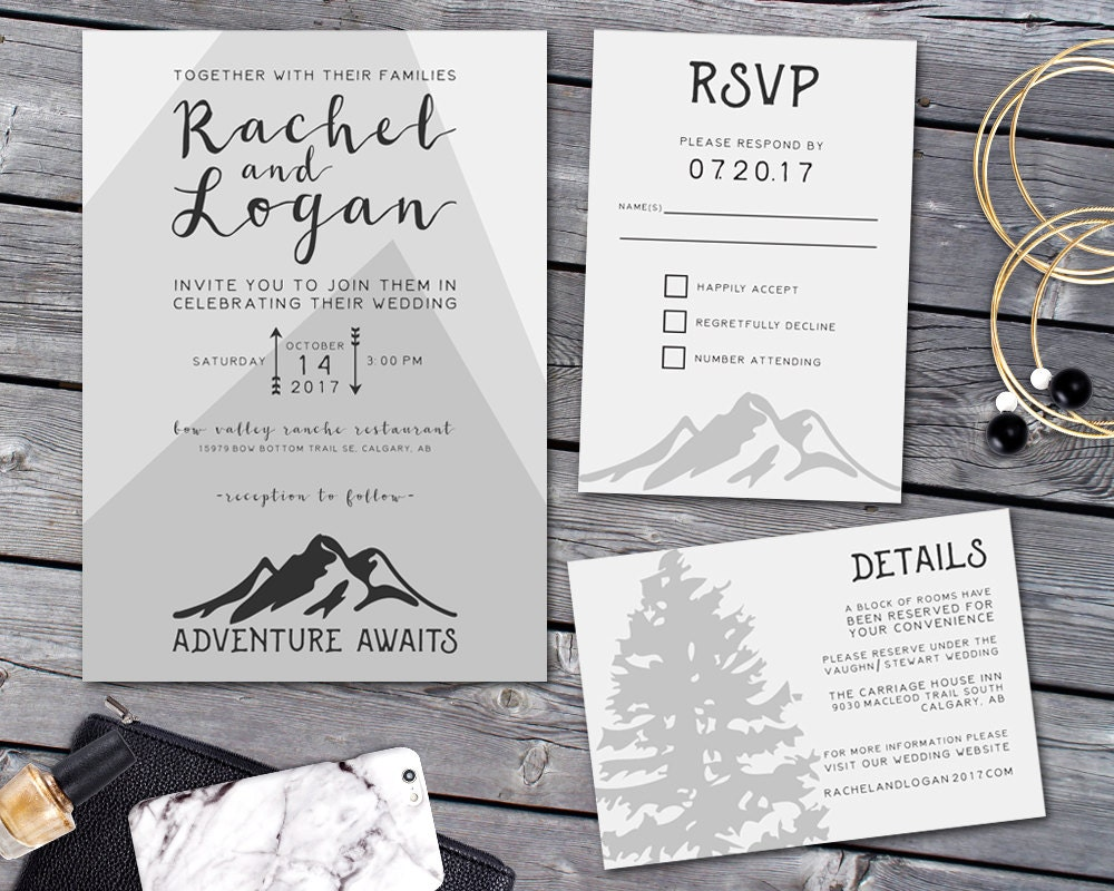 Canadian Wedding Invitations: Wedding Invitation Mountain Wedding Invitation Suite
