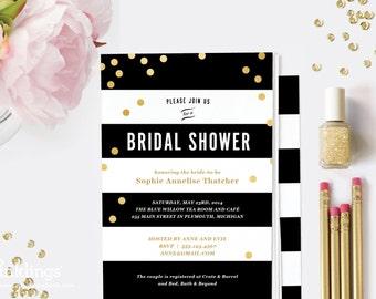 Printable Bridal Shower Invitation // Black Stripes and Gold Dots // Wedding Shower Invitation, Black and Gold // Editable Instant Download