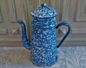 Vintage enamel coffee pot French Biggin mottled blue and white vintage 1930's, rustic enamel jug, cafétiere enamelware antique country decor