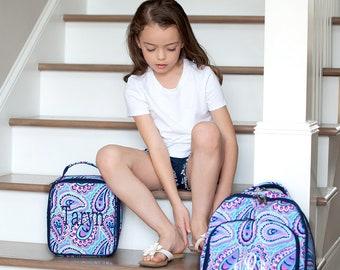 Monogrammed Backpack-- Book bag Monogrammed -- Lunch Box monogram-- -- Monogrammed Bookbag and Lunch Box-- Paisley