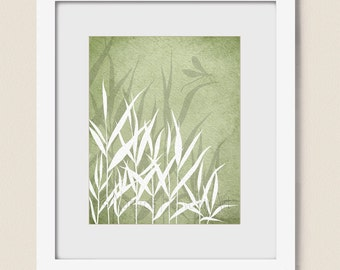 Dragonfly Wall Decor 8 x 10 Wall Art Print, Sage Green Grass, Nature Print, Living Room Artwork (257)