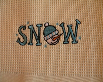 Blue SNOW Embroidered Waffle Weave Dish Towel