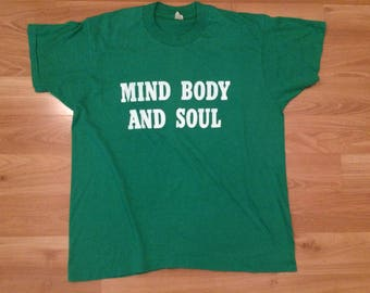 XL 80's Mind Body And Soul vintage T shirt men's green white Shiloh Family Life Center 1980's Screen Stars Tee