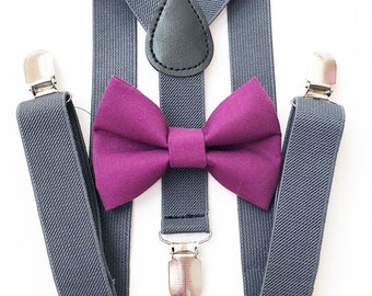 FREE DOMESTIC SHIPPING! Dark gray suspenders  + orchid purple Bow tie toddler kids boy boys Adult holidays photos family photoshoot