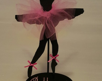 Cardstock Ballerina Silhouette With Circular Wood Base