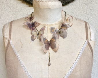 Handmade Butterfly Necklace with Silk Organza Ivory, Beige and Brown Butterflies and Moths, Statement Necklace - One of a Kind