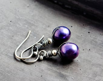 Blue Freshwater Pearl Earrings, Nocturnal, Midnight Blue Pearls,