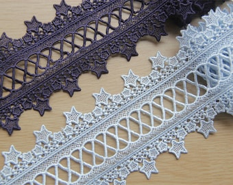 """Embroidery stars lace trims ribbons supplies 8cm 3.1"""" Victorian x1yrd LXGB73"""