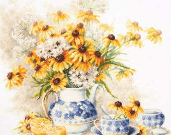 Cross Stitch Kit Flower tea