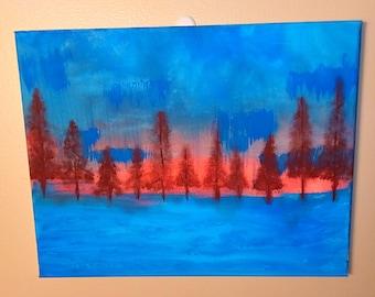 Tree painting Sunset Painting Blue painting Abstract painting Landscape painting Tree art Modern decor
