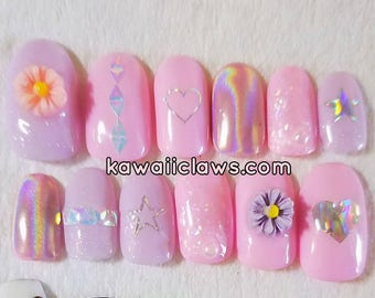 Pink Holo Hearts and Daisies