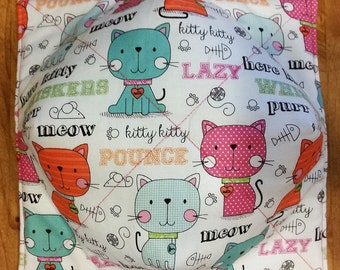 Microwaveable Bowl Potholder, Here Kitty Kitty and Black and White Kitties print