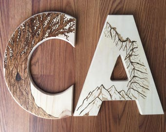 "Custom Wood Burned 12"" Letter"