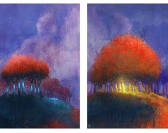 Red Bean Tree Series 01: Giclee Fine Art Print 85X11 (2 Prints)