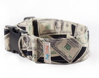 Dollar Print Designer Dog Collar//Money Print Dog Collar//Dollar Print Dog Collar//Manifestation Dog Collar//Dog Collar with Dollars//Money