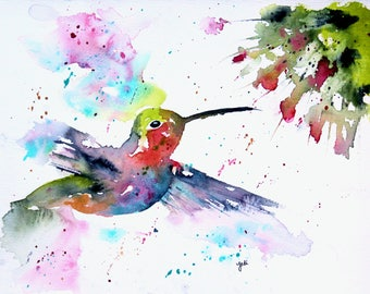 8 x 10 PRINT of hummingbird original watercolor painting, hummingbird watercolor, hummingbird painting