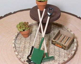 Fairy or gnome Garden miniature patio wood table and gardening tools, succulants mini pots