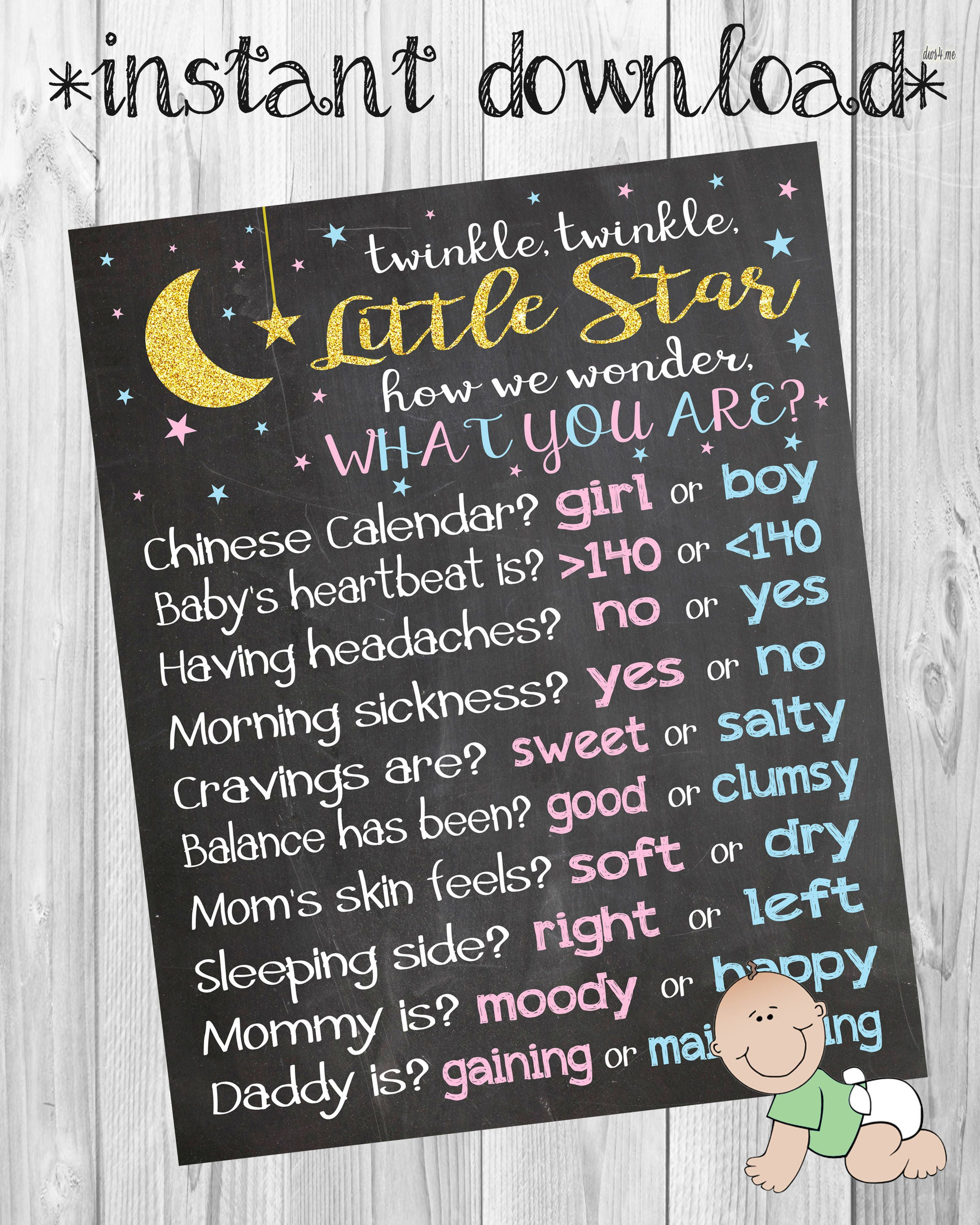 Twinkle Twinkle Little Star Gender Reveal party Chalkboard