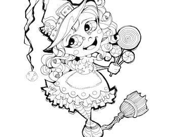 Halloween Trick or Treat Candy Lollipop Witch Coloring Page Printable Instant Download