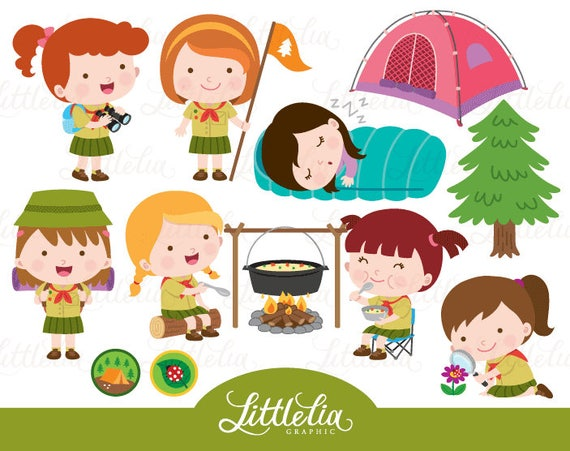 Girls Scout Camping Clipart 17032