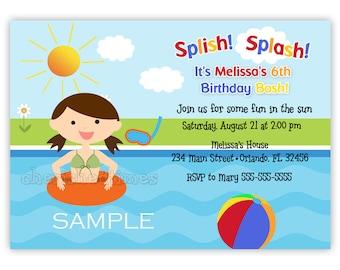 Pool Birthday Party Invitation -Girl Or Boy- (Digital File)