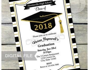 """Graduation Invitation - GOLD - Glitter Grad Invite - High School - College - Graduate - Digital Invite - 5"""" x 7"""" Printable"""
