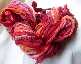 Hope Jacare - Wonderful Weaving hand dyed yarns and silk sari ribbons - 94g - WWY62