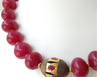 Modern Natural Ruby Necklace, Vermeil, Magnetic clasp