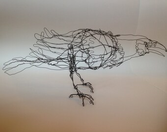Standing Black Raven-Wire Drawing Sculpture art