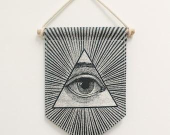 Flag Banner All-seeying eye. Fabric sign. Wall Art Print. Pennant Flag. Illuminati