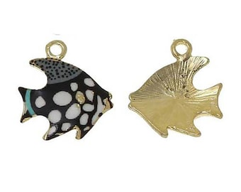 1 charm fish enamel 18 x 15 mm black and white